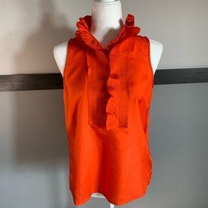 J.CREW sleeveless jabot ruff neck half button down